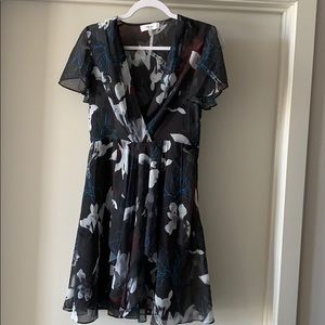 REISS LONDON sheer midi dress floral pattern US 4